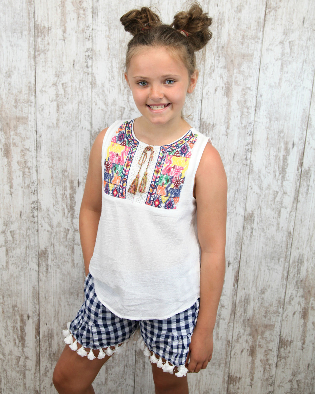 KIDS Embroidered Tie Front Peasant Top G6363