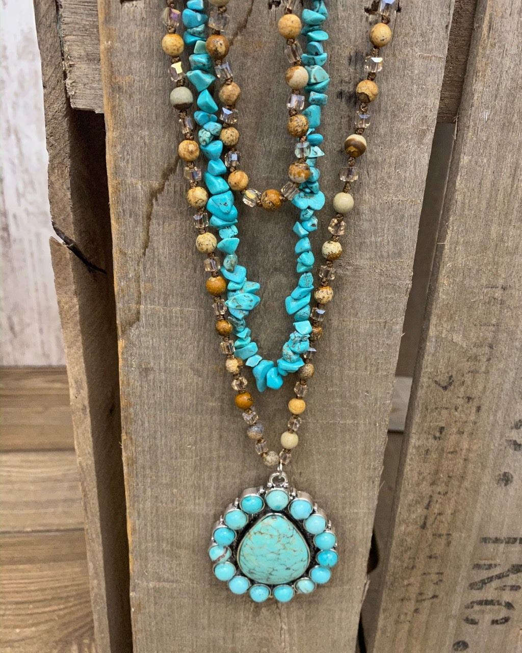 Backroad Beauty Turquoise Stone Squash Blossom Necklace