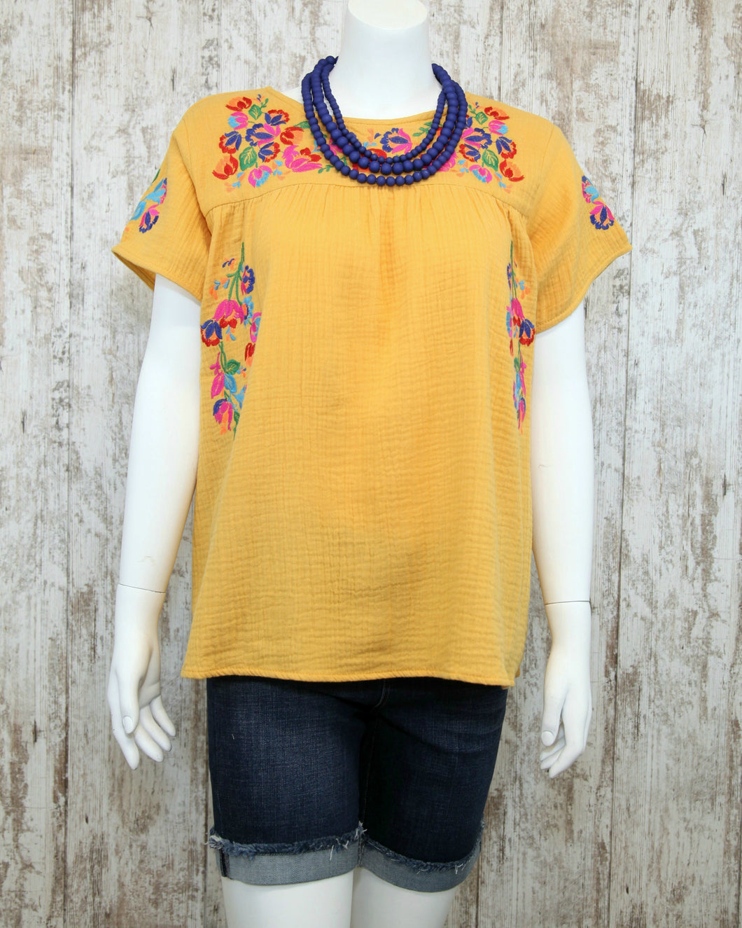 Embroidered SS Boho Top