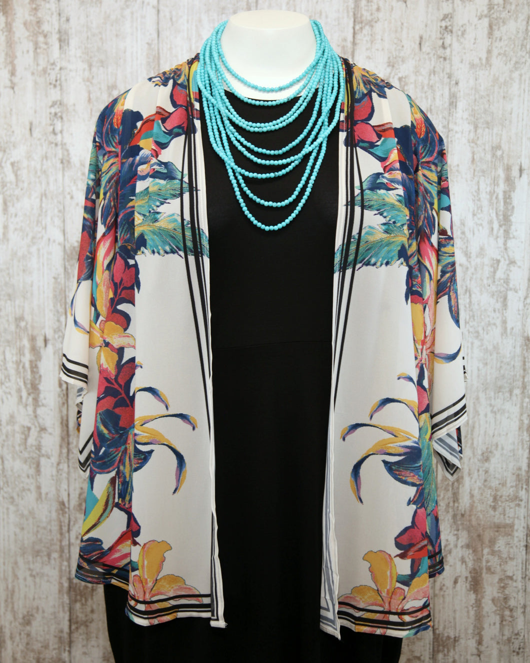 PLUS Draped Cover Up w Kimono Slvs and Floral Print
