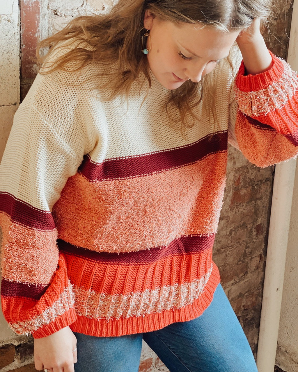 PLUS Colorblocked Multi Knit Long Puff Slv Pullover Sweater