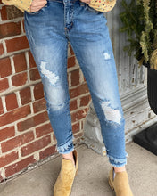 Gemma Mid Rise Distressed Ankle Skinny Jeans w Frayed Angled Bottom