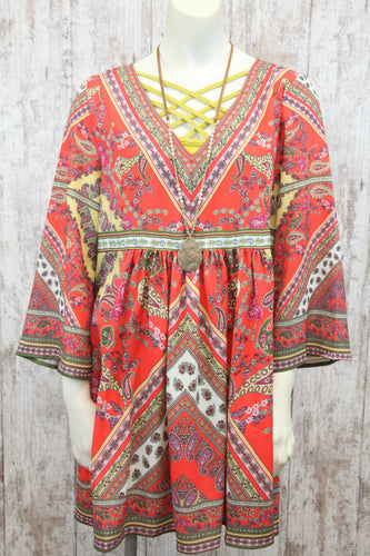 Paisley Print Bell Slv V Neck Dress L5351