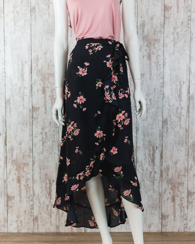 Floral Wrap Skirt with Ruffled Accent