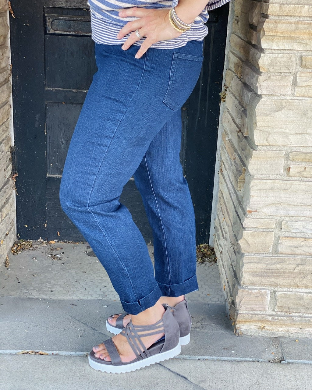 Denim Ankle Pull On Pant