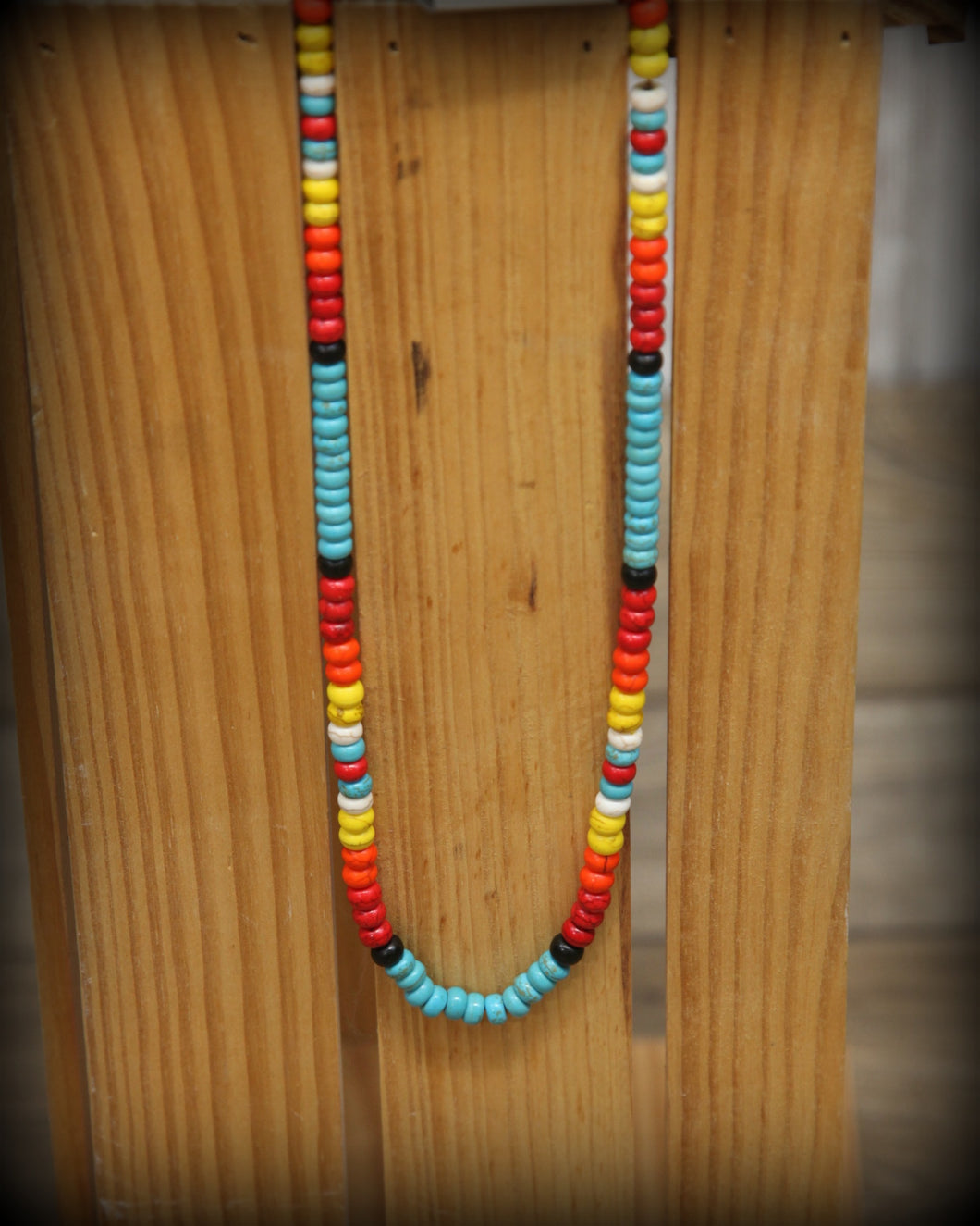 Multi Colored Beaded 1 Strand Short Necklace 1195