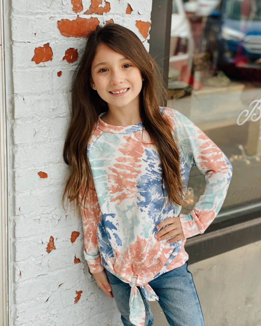 KIDS Paint Print Tied Front Tunic Top