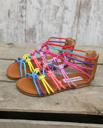 T Mystery Rainbow Knotted Sandal w Back Zip