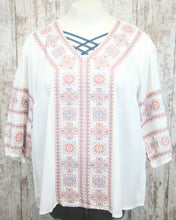PLUS Three Qtr Slv V Neck Embroidered Aztec Top