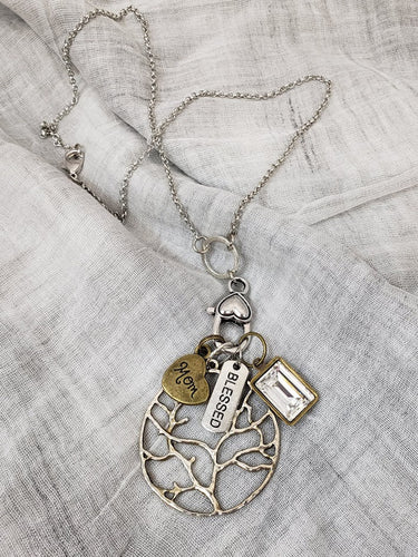 Silver 18In Necklace w Lg Silver Tree w Lg Brass Rectangle Mom