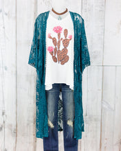 Floral Embroidered Lace Long Body Cardigan