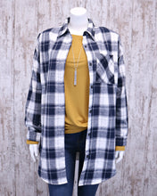 Longline Plaid Flannel Button Down Shirt Jacket w Sherpa Lining