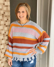 Striped Color Blocked Knit Long Slv Sweater w Frayed Distressed Edges