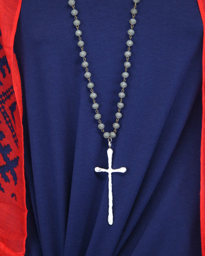 Long Crystal Beaded Cross Necklace