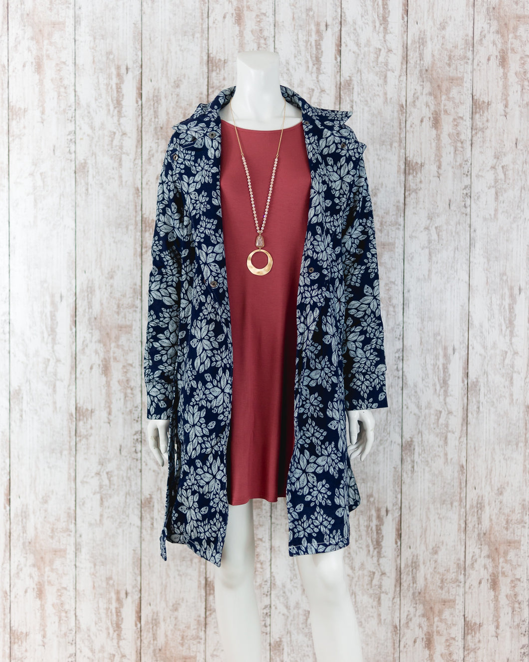 Flower Printed Denim Coat RCJ7