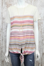 Striped Short Slv Top w Knit Yoke and Waist Tie A4889