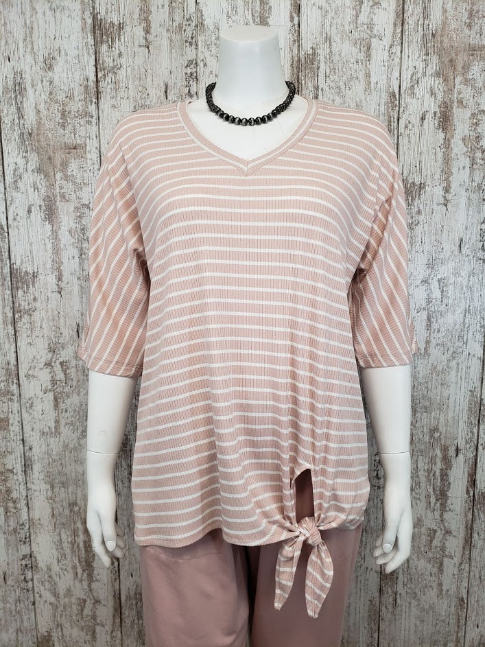 Striped Partial Slv Top w Tie Knot Detail