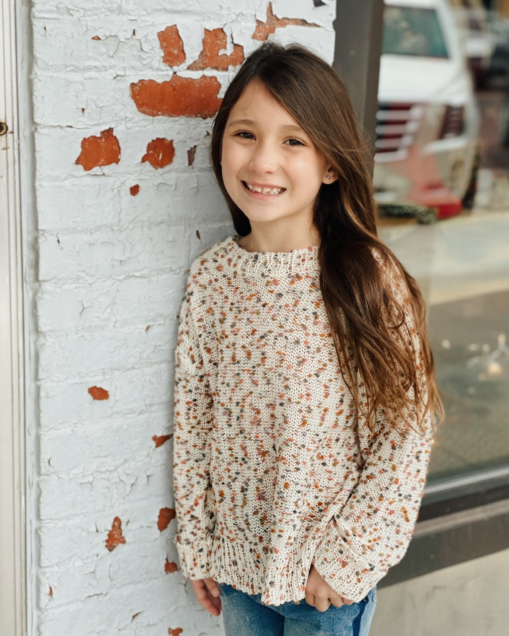 GIRLS Textured Confetti Knit Sweater