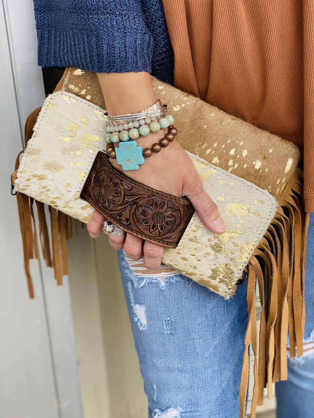 Hide Clutch Purse w Leather Tooled Handle Fringe Accent and Strap ADBG360ACGO