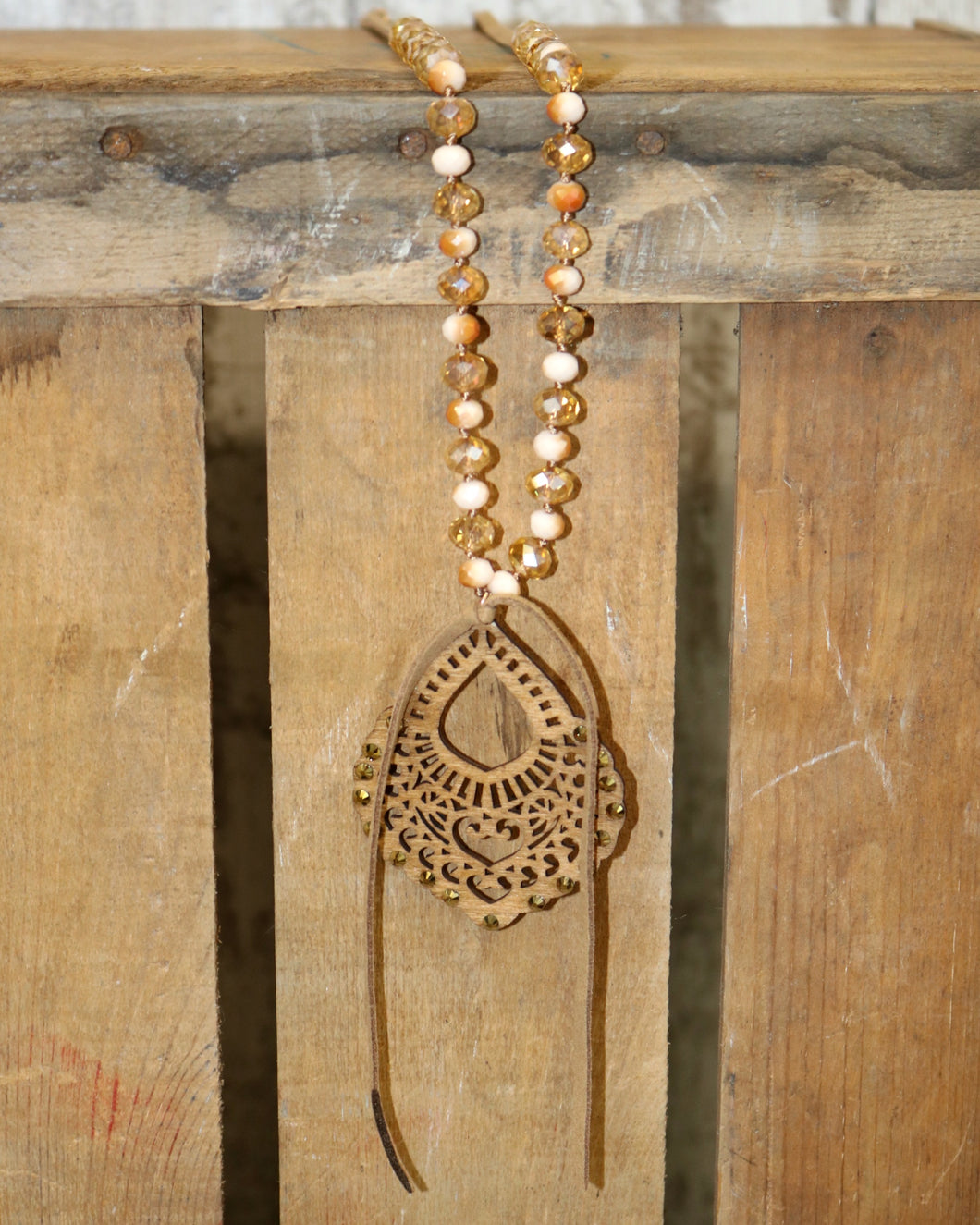 Victoria Necklace in Gold and Brown