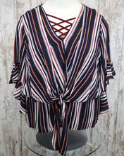 PLUS Striped Ruffle Bell Slv V Neck Layered Front Top w Center Tie WL5376
