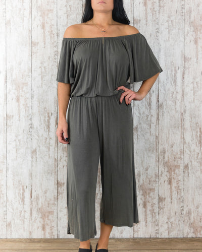 Wing Sleeve Washed Rayon Cropped Jumpsuit