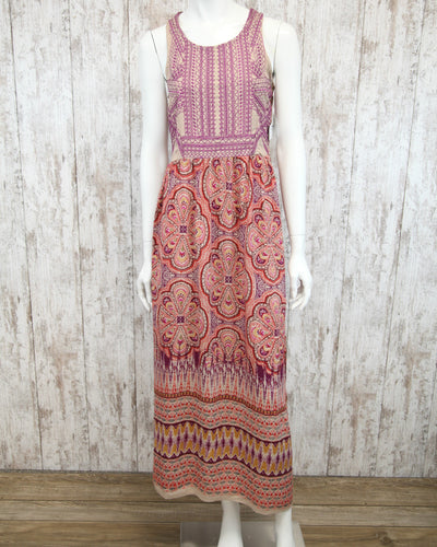 Embroidered Slvless Maxi Dress F4059-NL55