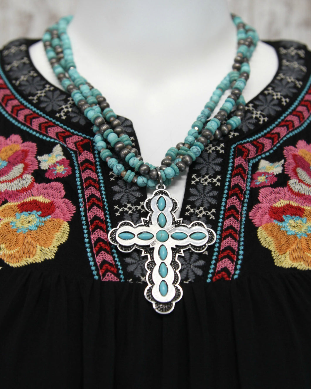 Turquoise Multi Layered Necklace w Silver Cross ASN6153