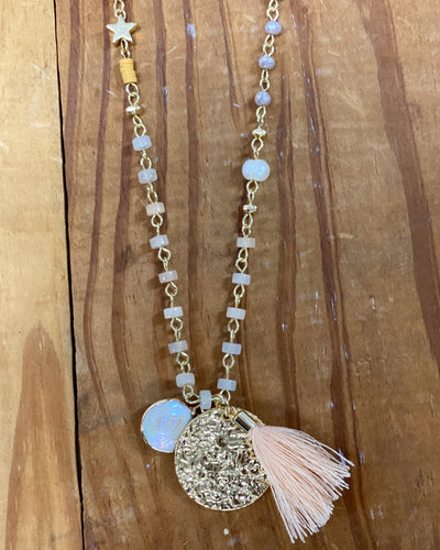Creeley Long Mixed Bead Necklace w Tassel Pearl Disc Charm