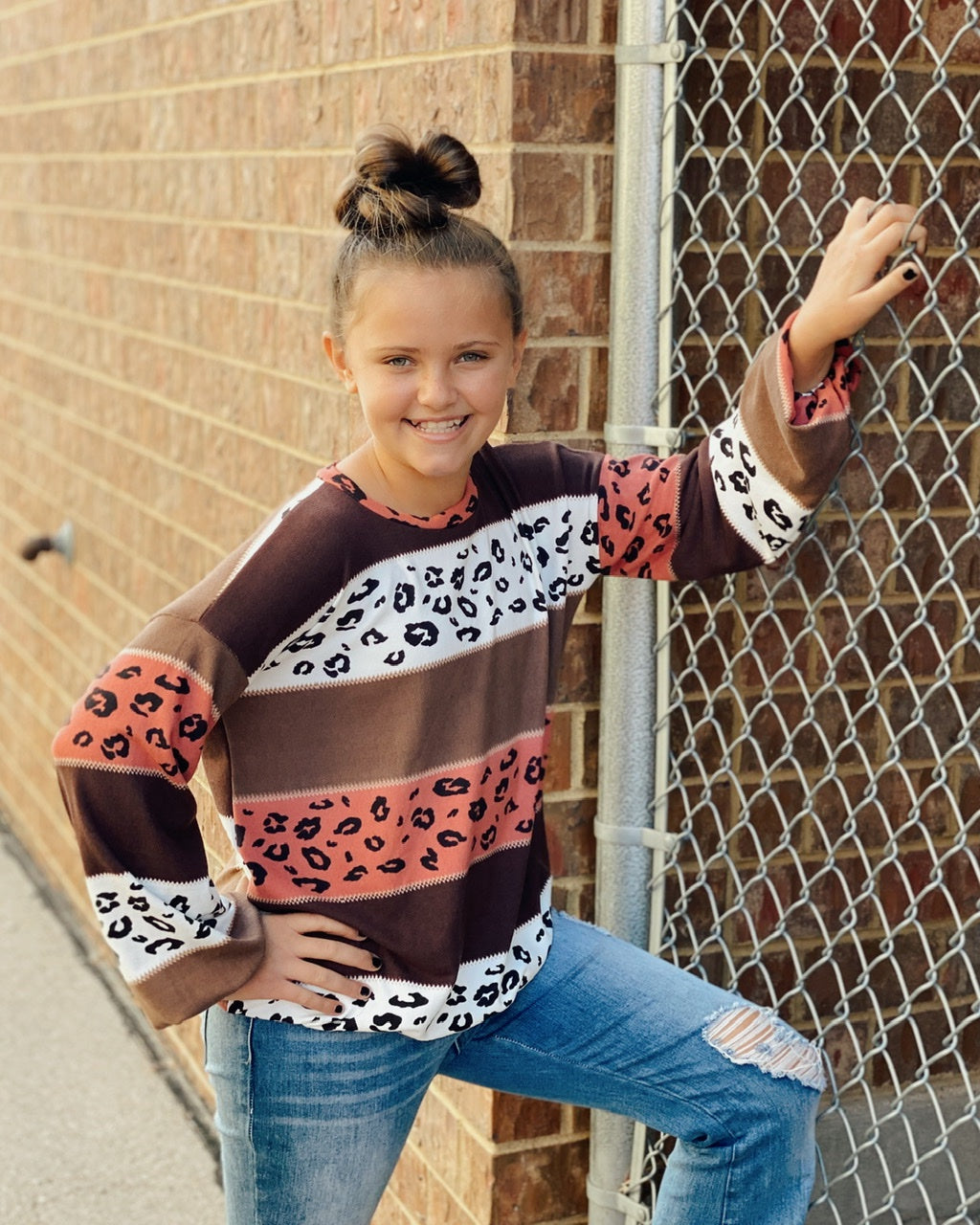 KIDS Leopard Striped Balloon Slv Soft Sweater Top w Elastic Hem