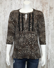 Three Qtr Slv Tootsie Peasant Top w Tie at Neck