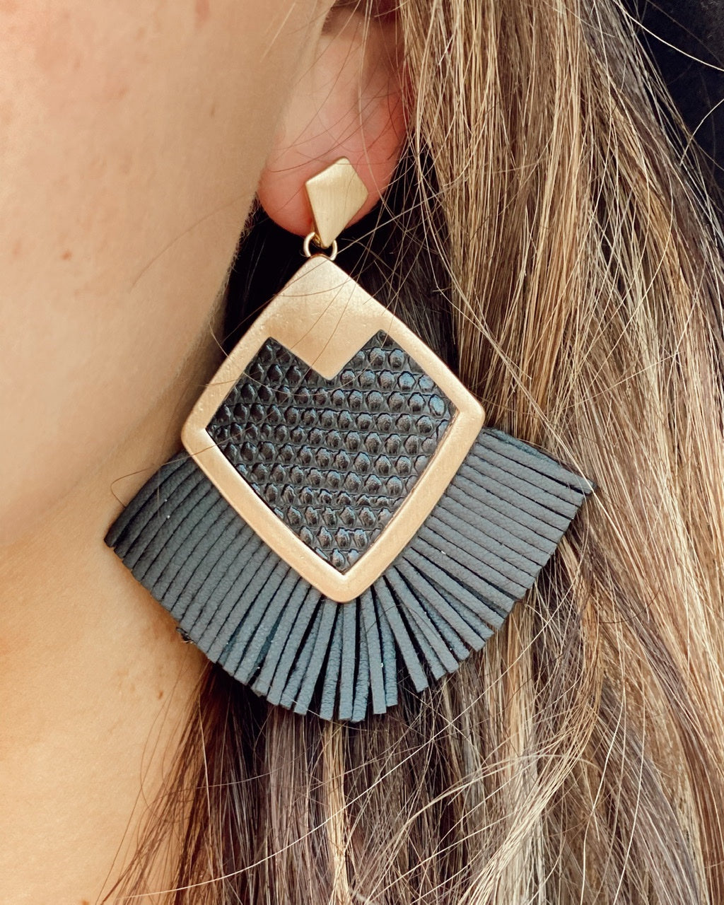 Metal Encased Faux Leather Diamond Shaped Post Earrings