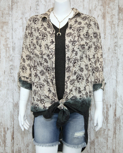 Button Down Printed Ombre Collared Shirt w Roll Slvs N2J67-MT81