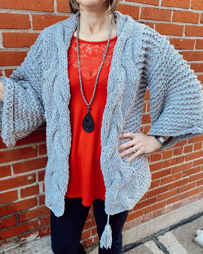Chenille Soft Open Sweater Cardigan w Bell Slv w Thick Twisted Detail