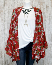 Floral Print Cardigan w Long Bell Slvs w Embroidered Accent