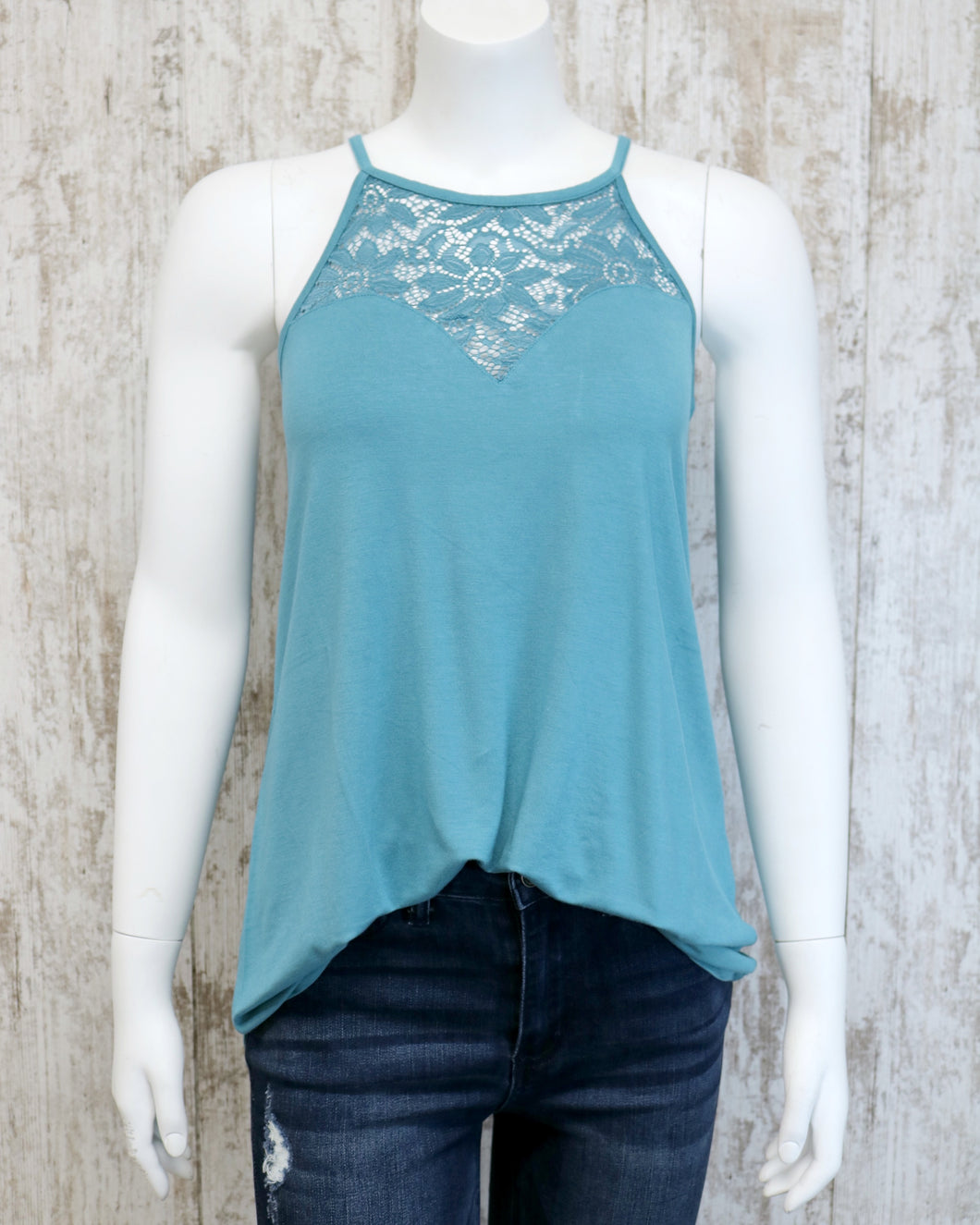 Rayon Lace Paneled Slvless Halter Top AT-5551S