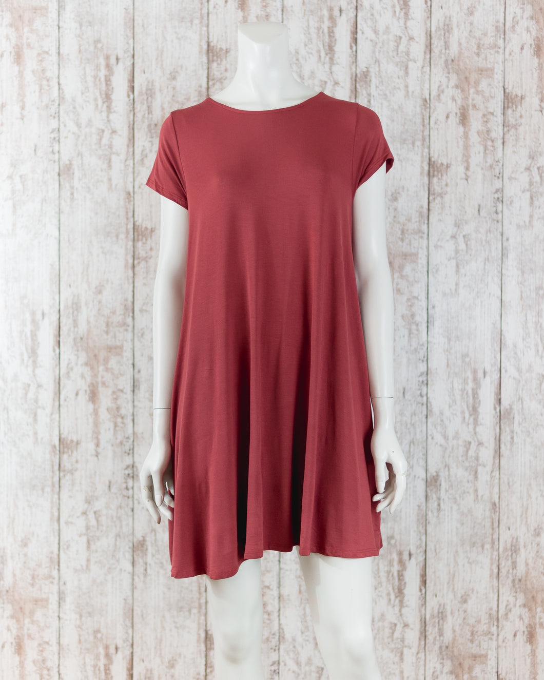 MIT Solid Trapeze Knit Pocket Dress D8442