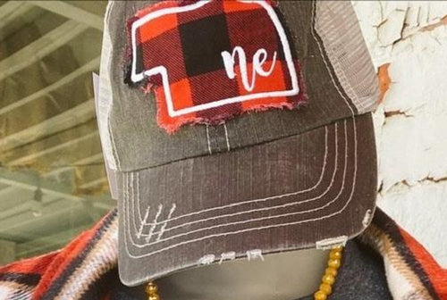 Gray Distressed Cap w Buffalo Plaid State w White ne