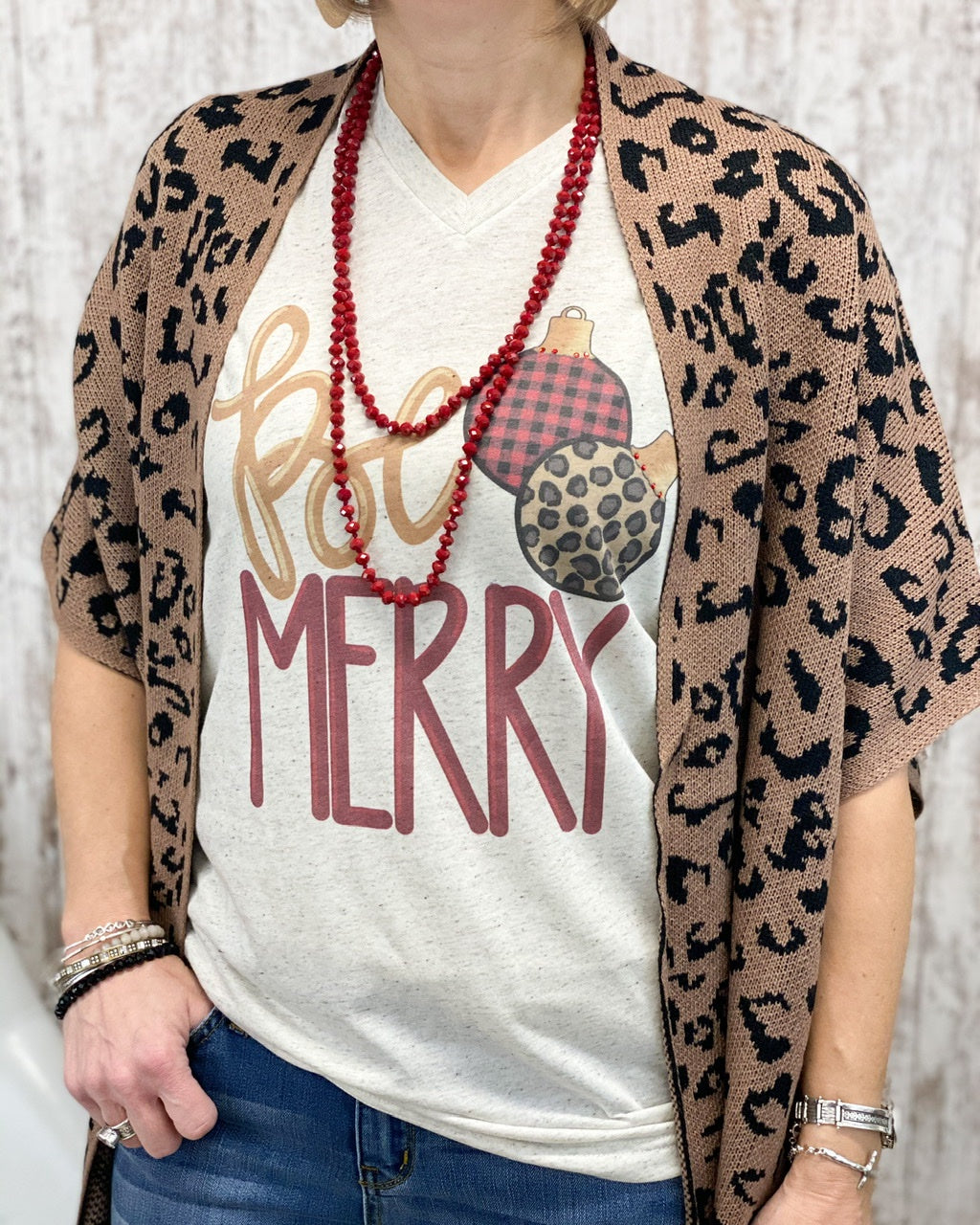 Be Merry Vintage Boyfriend V Neck Tee BEMER-VTRI