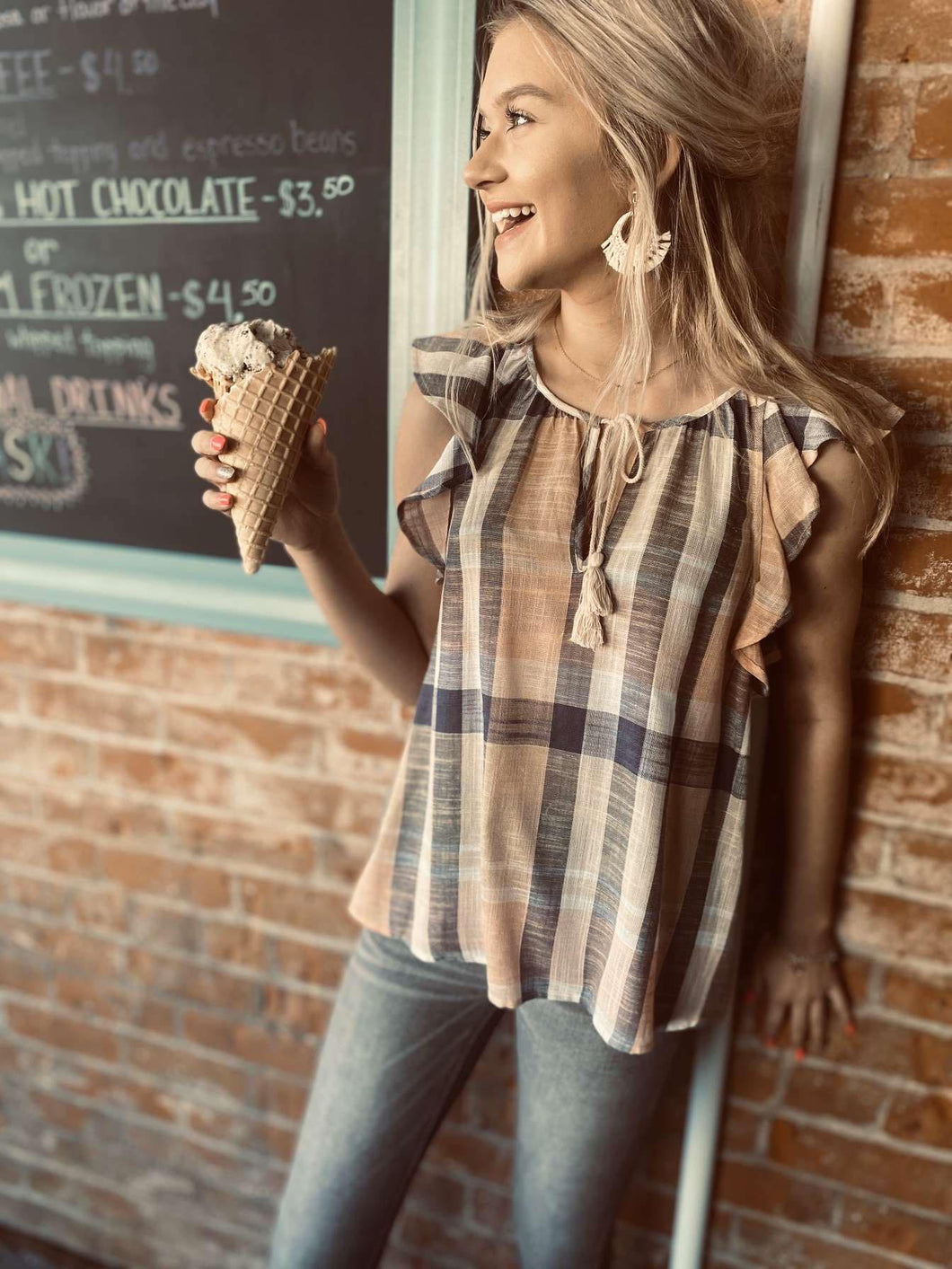 Tie Front Blouse w Cascading Ruffle LM8030G12