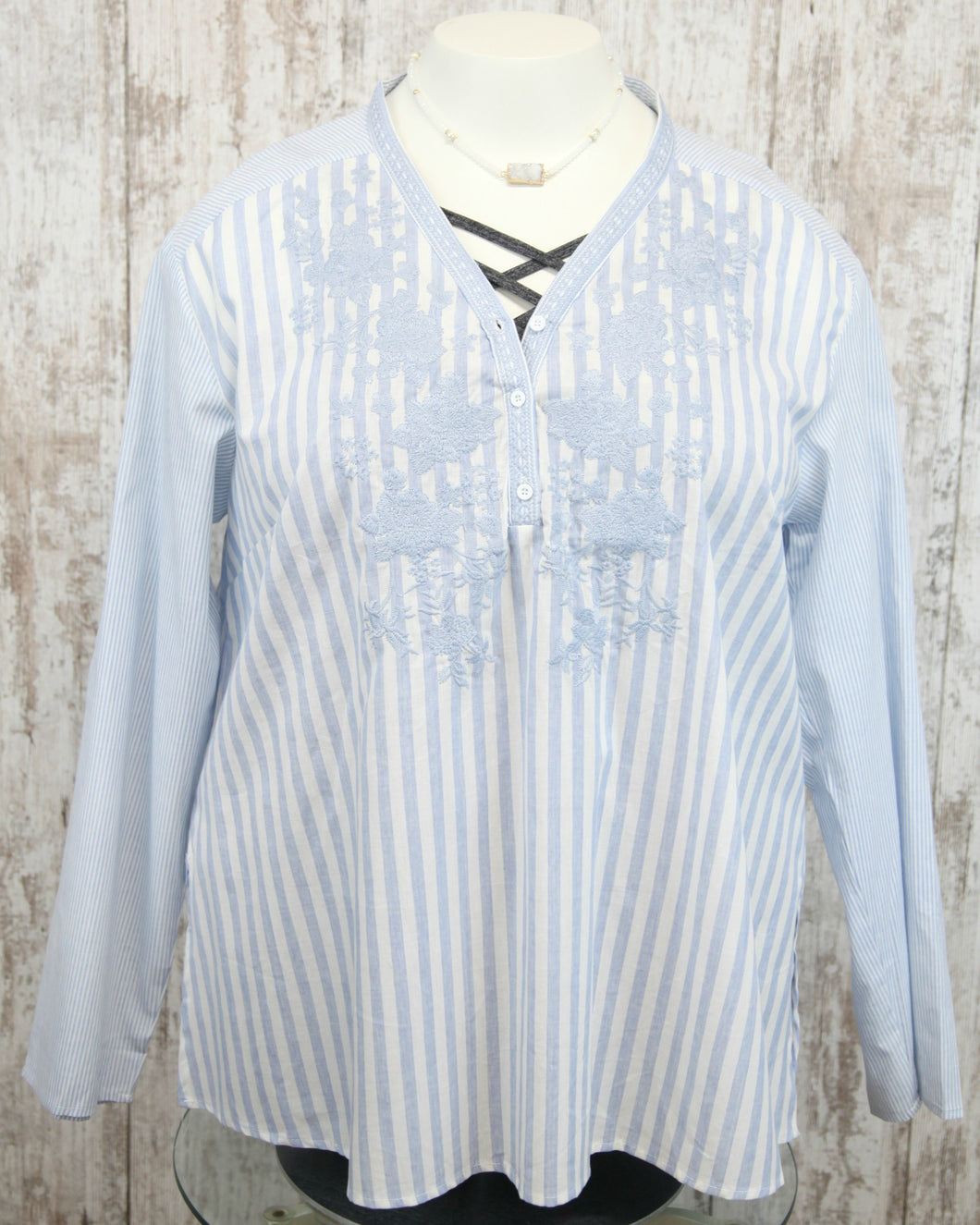 PLUS Roll Up Long Slv Striped Embroidered Top w Vneck w Buttons P14375