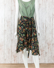Floral Ruffled Surplice Tie Side Flare Woven Skirt