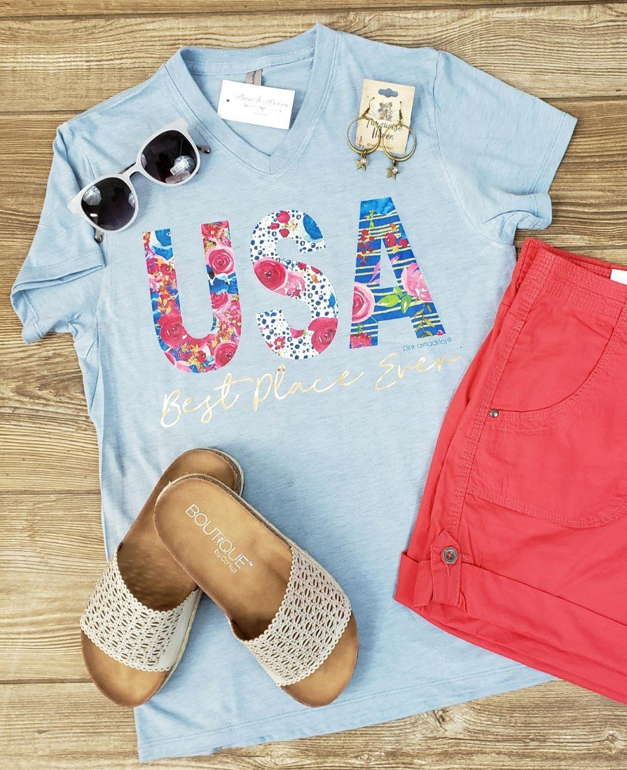 USA The Best Place Ever Vintage Boyfriend V Neck Tee in Steel Quartz