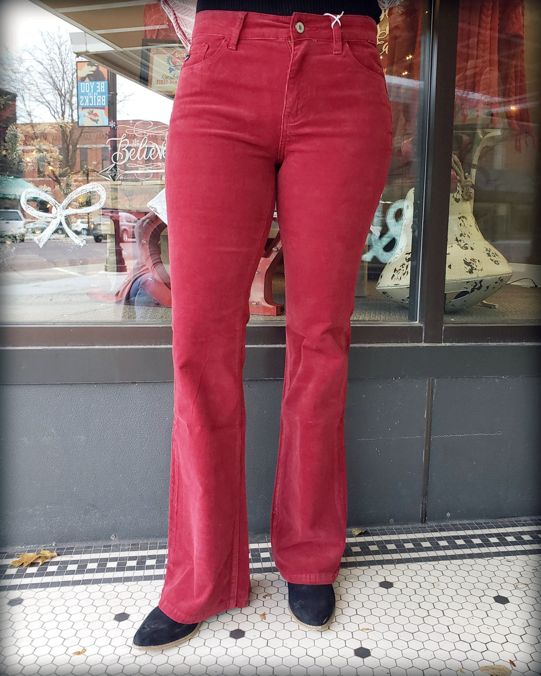 High Rise Skinny Flare Jeans Red KC6299RD