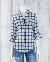 Plaid Button Down Collared Blouse