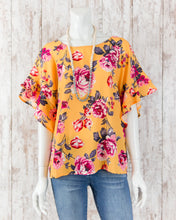 Floral Print Layered Ruffle Short Slv Round Neck Top C1973