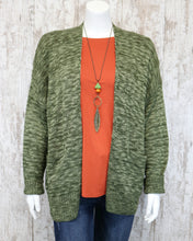 Soft Knitted Cardigan Sweater w Pockets in Olive DZ19G675