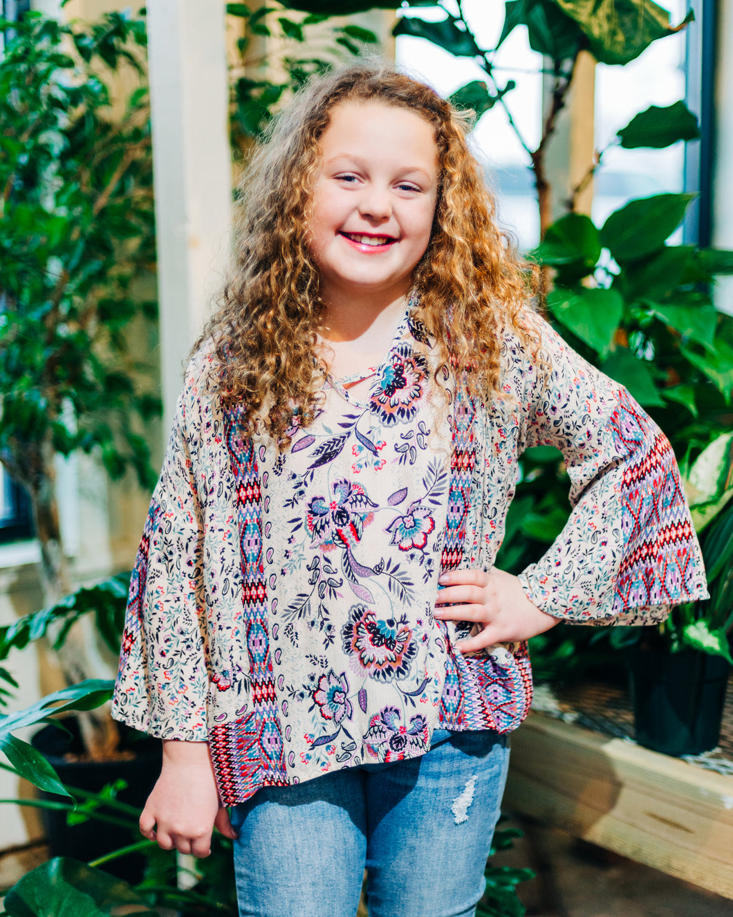 KIDS Floral and Aztec Print V-Neck Top