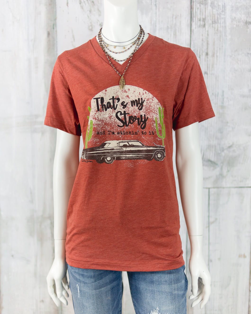 That's My Story V Neck Short Slv Tee