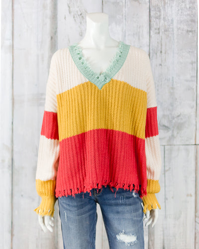 Long Sleeve Stripe Fringe Sweater Top